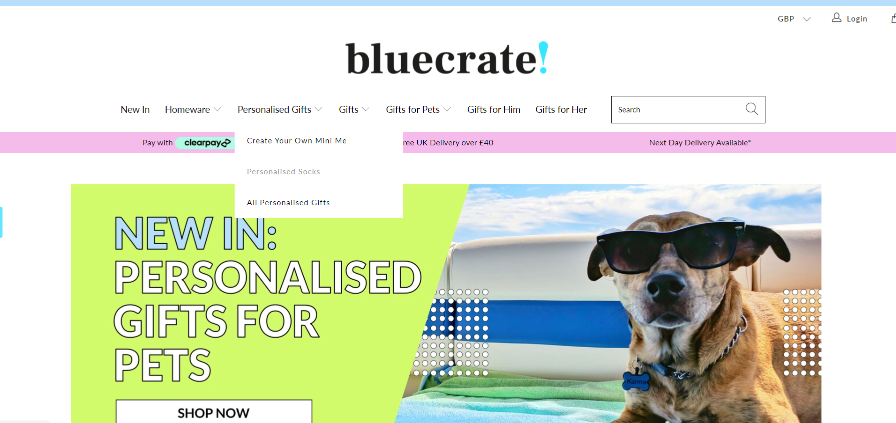 shopify dropshipping store examples - bluecrate