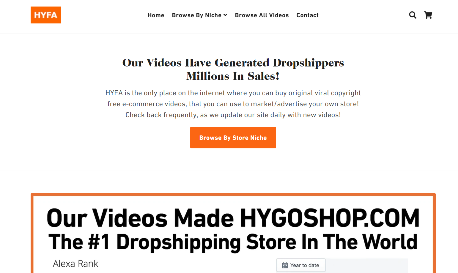 shopify dropshipping store examples - hyfa