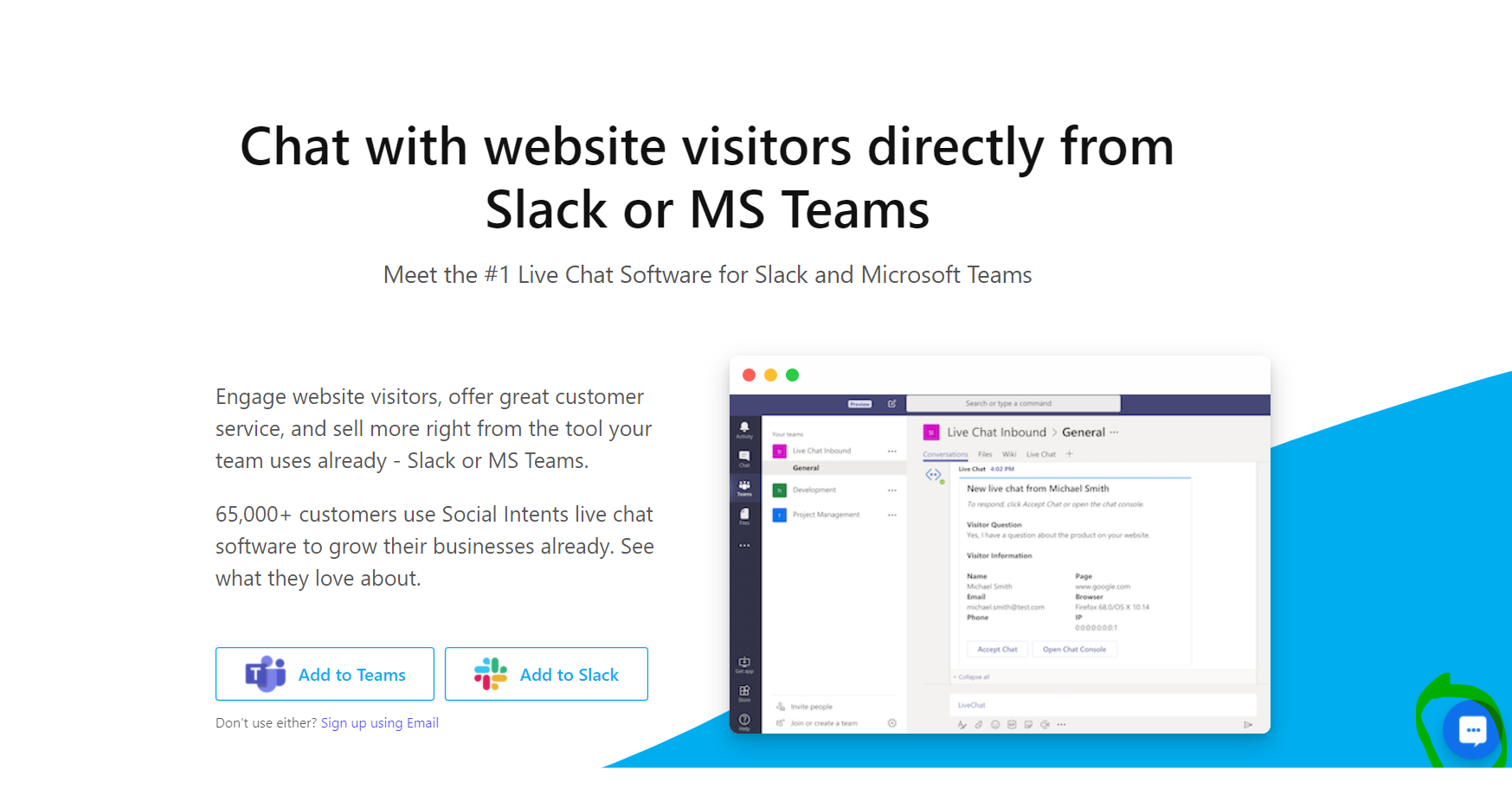 slack for dropshipping stores as a live chat