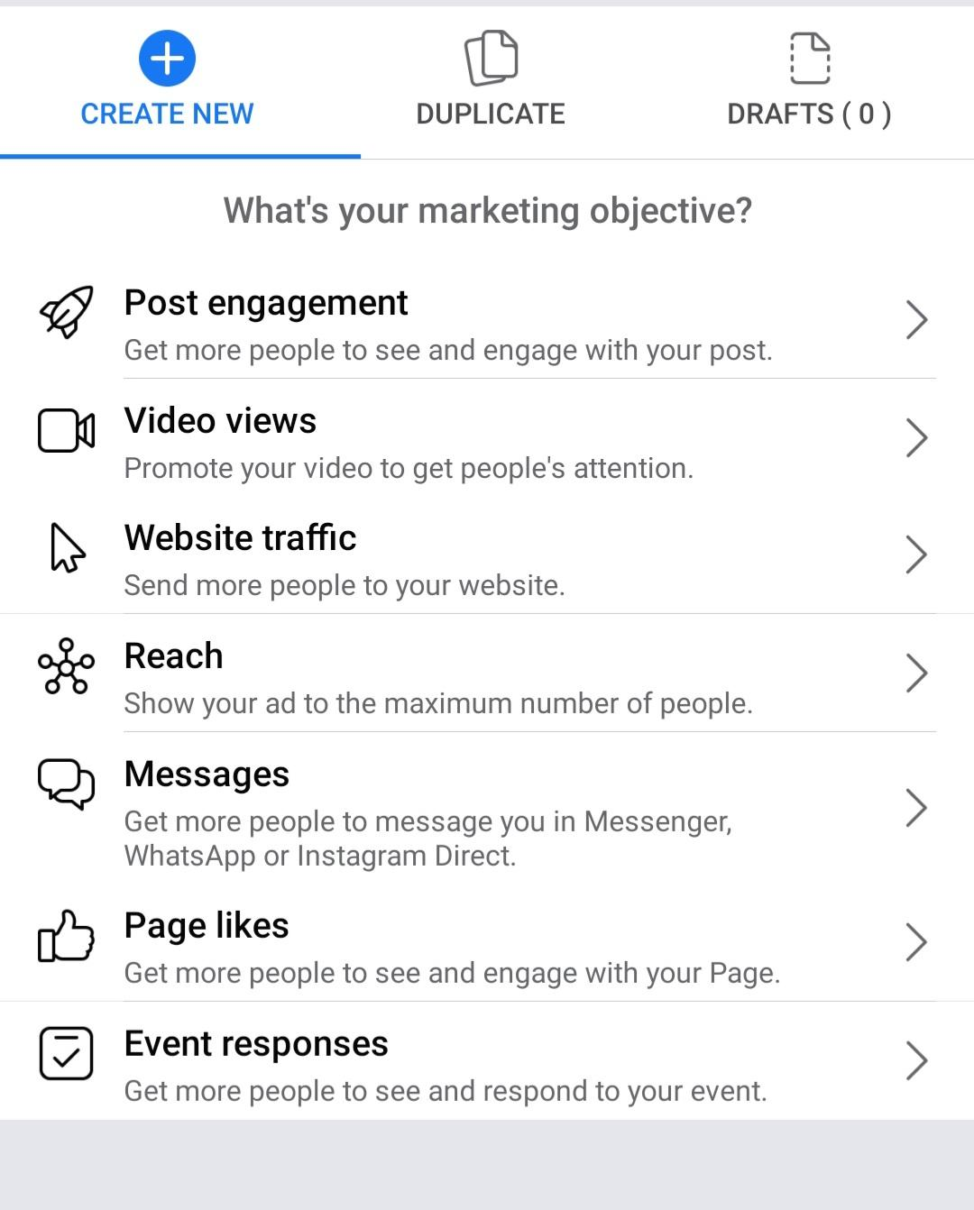 marketing objectives on facebook ads for dropshipping