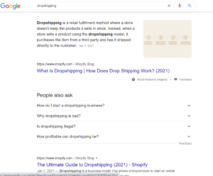 seo for dropshipping stores