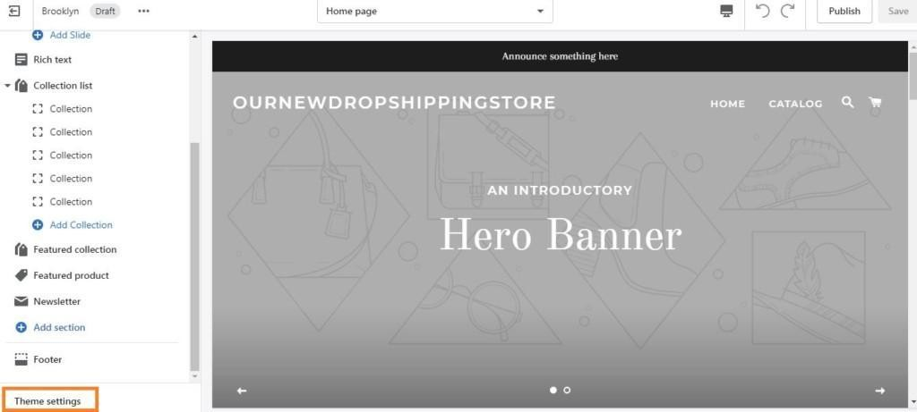 theme settings for shopify