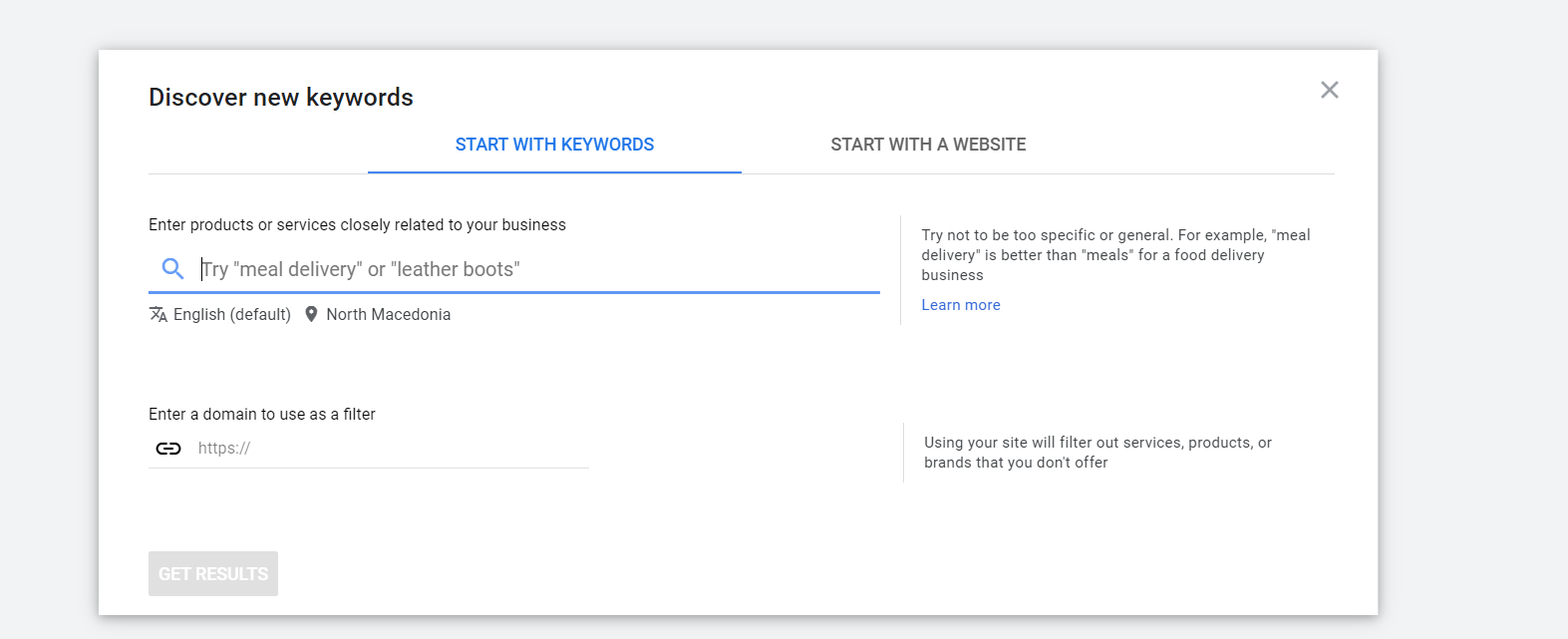 discover new keywords on google ads