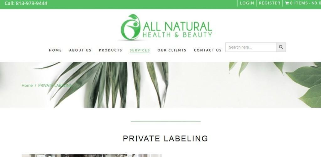 all natural private label store example